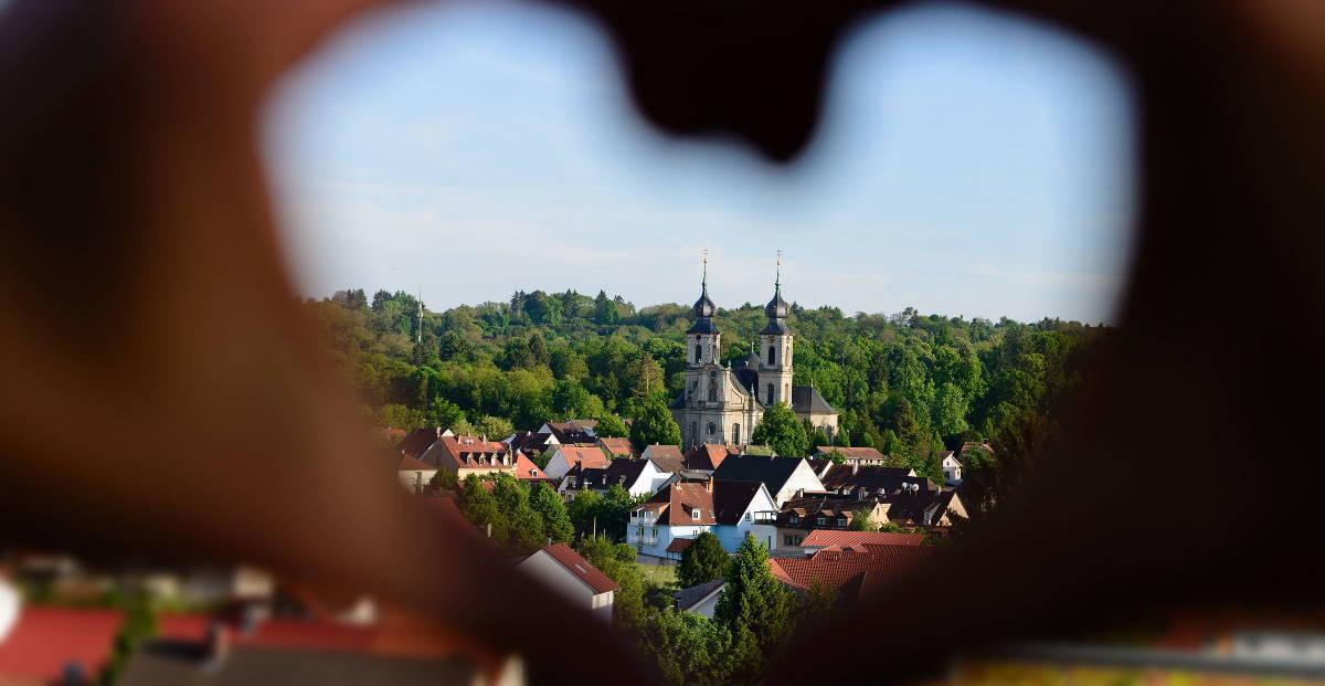Blick auf die Peterskirche in Bruchsal