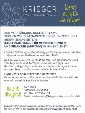 Krieger Versicherungsmakler GmbH – Kauffrau/-mann für Versicherungen und Finanzen